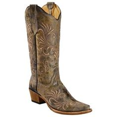Circle G Women's Distressed Filigree Embroidered Western Boots