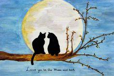 Love you to the moon and back........op houten paneel. Te koop