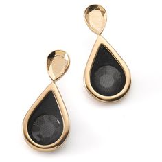 Moran Porat Jewelry Gold And Black Drop Earrings ($69) ❤ liked on Polyvore featuring jewelry, earrings, stud earrings, fake jewelry, imitation jewelry, fake earrings and drop earrings