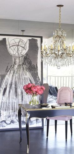 Ok I have to say I Love this for a home office. Fabulously Chic yet Classy Melissa Mcinnis #FeminineOffice
