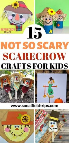 Are you looking for a fun fall craft?  Check out this list of 15 Not So Scary Scarecrow Crafts For Kids!  These crafts are ideal for toddlers, preschoolers and early elementary school.  All you need are a few craft supplies and you can get started right way.  Click here to see the full list of ideas #diy #crafts #craft #kidscraft #toddler #preschool #fall #fallcraft #scarecrows #scarecrow #autumn