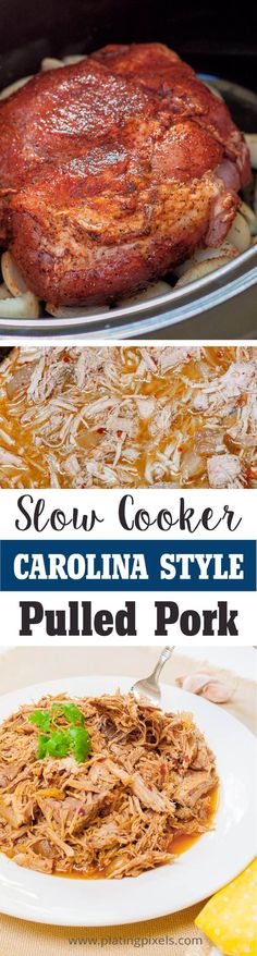 """Easy Carolina Style Slow Cooker Pulled Pork by Plating Pixels. Rich spices and tangy broth make this pulled pork recipe fork tender in a slow cooker. Tender flaky pulled pork - <a href="""""""" rel=""""nofollow"""" target=""""_blank"""">www.platingpixels...</a>"""