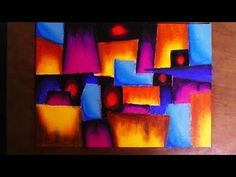 Demonstration of abstract painting in acrylics. Canvas size : 30