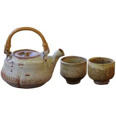 Mingei Style Studio Pottery Teapot and Cups By Warren Mackenzie at... ❤ liked on Polyvore featuring home, kitchen & dining, fillers, furniture, items and kitchen