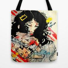 Art Bag  Tote Bag  Market Bag  Watercolor art  by ArtOfPrincessM