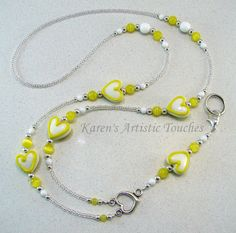 Yellow White Heart Beaded Lanyard ID Badge by ArtisticTouches
