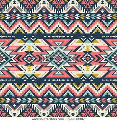 retro colors tribal vector seamless navajo pattern. aztec abstract geometric art print. ethnic hipster vector background. Wallpaper, cloth design, fabric, tissue, cover, textile template.