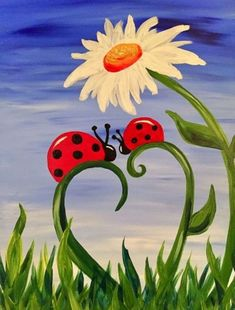 There are numerous simple and easy canvas painting ideas for beginners you can try. Get ready for the art and create your art piece with the listed ideas. Cute Canvas Paintings, Easy Canvas Painting, Simple Acrylic Paintings, Spring Painting, Diy Painting, Painting & Drawing, Canvas Art, Easy Flower Painting, Acrylic Canvas