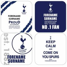 With four different designs, our Personalised Tottenham Hotspur Coasters will make a bold statement in any Spurs fan's home! Each one displays the recipient's First Name and Surname in the traditional blue and white colours. Spurs Fans, Personalized Football, Tottenham Hotspur, Football Fans, First Names, Just Love, Coasters, Packing, Blue And White
