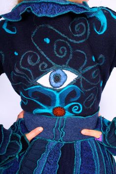 Recycled Sweater by Katwise Extra Long Blue Eyeball by katwise. $555.00 USD, via Etsy.