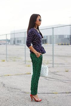 Mix & Match polka dot peplum top with pebble print trousers and red sandals