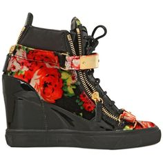 GIUSEPPE ZANOTTI 90mm Floral Print Velvet Wedged Sneakers ($497) ❤ liked on Polyvore