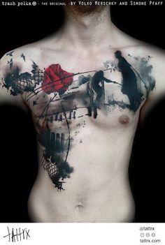 Volko Merschky Simone Pfaff Tattoo - Trash Polka Silhouette Chestpiece