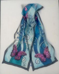Pink Butterfly With Blue Branch of Leaves Silk Chiffon Scarf. Hand Painted Dress, Painted Silk, Chiffon Scarf, Silk Chiffon, Silk Art, Handmade Scarves, Blue Butterfly, Silk Painting, Shawls And Wraps