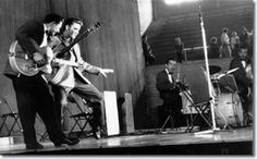 Scotty, Elvis, DJ and Bill at Fieldhouse UD in Dayton May 27, 1956