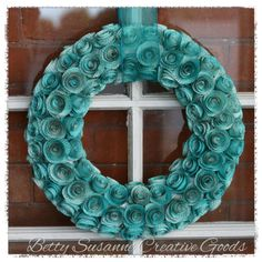 Teal Paper Rosette Wreath 14 by BettySusanne on Etsy