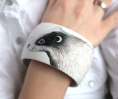 Natural wooden bracelet ornamented with hand-painted by SkadiaArt
