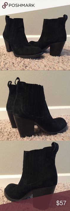 Steve Madden Legacy Ankle Bootie in Black Crafted in suede, Steve Madden's LEGACY ankle boots convey artistic expression through the distinctive whipstitching detailing. With a round-toe silhouette, sturdy stacked heel and flexible sole, they're as comfortable as they are stylish. 2.75 inch heel. 4 inch shaft height. 11 inch circumference. Suede upper. Please note wear in images and request additional images prior to purchase. Steve Madden Shoes Ankle Boots & Booties