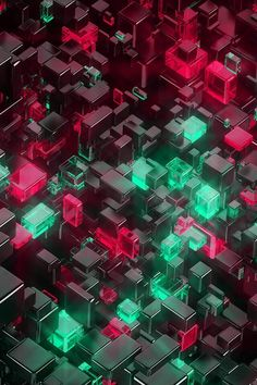 Digital Art Green Red Pattern Android wallpaper background for Android. 3d Wallpaper Iphone, Old Wallpaper, Galaxy Wallpaper, Mobile Wallpaper, Pattern Wallpaper, Wallpaper Backgrounds, Isometric Art, Tech Art, 3d Pattern