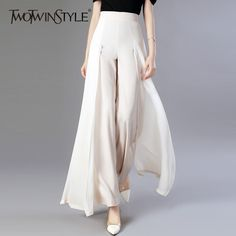 Chiffon Long Trousers High Waist Zipper Patchwork Maxi Wide Leg Pants For Women Spring Elegant Fashion Clothing - Apricot - Pants & Capris # Sneakers Outfit Work, Outfit Jeans, Hijab Jeans, Shoes Sneakers, Sneakers Fashion, White Sneakers, Fashion Shoes, Fashion Pants, Fashion Dresses