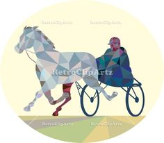 Horse and Jockey Harness Racing Low Polygon Vector Stock Illustration. Low polygon style illustration of a horse and jockey harness racing viewed from the front set on isolated white background. #illustration #HorseandJockeyHarness