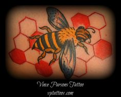 Traditional bee tattoo by Vince. Vince is available for tattoos and consultations at Pharaoh Tattoo Studio, 575 Lawrence ave, Kelowna BC, Tuesday to Saturday, from 11am to 5pm. All tattoo appointments require a cash deposit. Stop by the shop, or call 778-478-9367 to inquire about availability. Check out Vince on Facebook at: https://www.facebook.com/vince.parsons.1 Or his website at: vptattoos.com Or our Google + page: https://plus.google.com/106219231703216001907/posts?hl=en