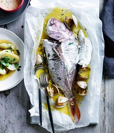 Snapper and Clams en Papillote with Tarragon Beurre Blanc Recipe | Gourmet Traveller