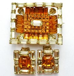 Kramer Of New York Brooch Earrings Set Amber Rhinestones Rectangle Vintage Pin #Kramer #Rectangle