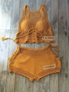 Wonderful Picture of Bralette Crochet Pattern - Her Crochet Motif Bikini Crochet, Crochet Bra, Crochet Shorts, Crochet Crop Top, Crochet Clothes, Crochet Stitches, Crochet Pattern, Crochet Top Outfit, Mode Du Bikini