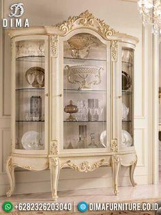 Desain Lemari Kaca Hias Mewah Putih Duco Luxury Elegant Style TTJ-1454 China Cabinet, Carving, Elegant, Luxury, Storage, Royals, Interior, Furniture, Home Decor