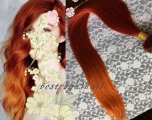 Medium Copper Red to Orange Two Colors Ombre Hair Extensions, 18 Clips Indian Remy Clip in Hair Extensions RHS267
