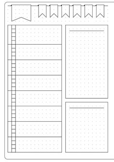 This could be for meal planning or meal planning in a bullet journal--Simple Weekly Layout & Template - Kate Louise Bullet Journal Layout Templates, Bullet Journal Weekly Layout, Bullet Journal Printables, Bullet Journal How To Start A Layout, Bullet Journal Stencils, Binder Templates, Indesign Templates, Printable Templates, Journal Stickers