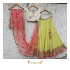 Look ravishing in this color block lehenga this wedding season. Beautiful green color lehenga and pearl blouse with pink net dupatta.For more information  write to info@pritisahni.com . 10 August 2017