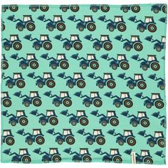 Square Scarf, turquoise with tractors, Maxomorra