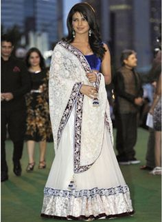 Priyanka Chopra White Bollywood Replica #Lehenga