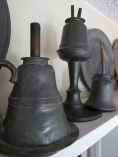 PEWTER – old pewter oil lamps. Circa early to mid 1800's.
