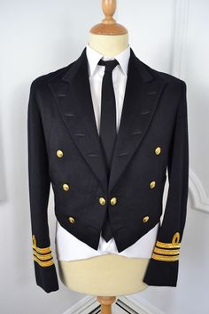 VINTAGE 1965 GIEVES SAVILE ROW NAVAL COMMANDER'S BLUE WOOL JACKET MEDIUM 40 REG