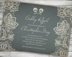 halloween invitation wedding birthday fall gothic autumn grey skulls october offbeat custom vintage antique alternative elegant usd by vginvites - Skull Wedding Invitations