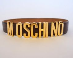 Moschino by Redwall letters vintage leather belt in brown leather - Edit Listing…