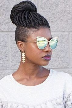 side shot of woman with box braids with shaved sides hairstyle, wearing sunglass. - My list of women's hairstyles Half Braided Hairstyles, Shaved Side Hairstyles, Crochet Braids Hairstyles, Down Hairstyles, Hairstyles 2018, Elegant Hairstyles, Everyday Hairstyles, Formal Hairstyles, African Hairstyles
