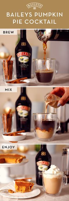 If you're too stuffed for dessert after Thanksgiving dinner, we've got the perfect recipe to satisfy your pumpkin craving! To make a Baileys™ Pumpkin Pie cocktail, add 2oz Baileys™ Original Irish Cream to 4oz espresso (or strongly-brewed coffee.) Stir in 1 tsp pumpkin pie spice and top with whipped cream and a sprinkle of cinnamon. There's no better drink to get into the holiday spirit!