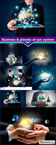 Business & planets of sun system 7X JPEG  stock images