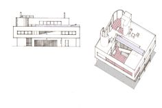 Villa Savoye Axonometric + Elevation Coloured