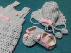 Conjunto bebé a crochet 3-6meses - artesanum com