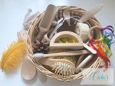 Sensory Baskets&Montessori,Waldorf,Reggio inspired toys by CarlaSTreasure Treasure Basket, Wooden Teething Ring, Montessori Baby, Third Baby, Sensory Play, Multi Sensory, Creative Play, Baby Play, Wooden Toys