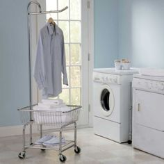 The Rolling Laundry Center brings the convenience of a laundromat's rolling cart to your laundry room.