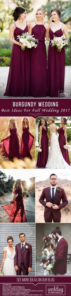 Burgundy Wedding - Best Ideas For Fall Wedding 2017 ❤ Burgundy wedding is a very popular scheme for fall ceremonies. Make your Big Day luscious and unique! See our gallery and look for the bonus! See more: http://www.weddingforward.com/burgundy-wedding/  #wedding #photography