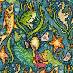 R234 Oceanica Julie Paschkis Folk Art Sea Life Under The Sea Mermaids Guitar Fish Starfish Frog Prince Octopus Cotton fabric Quilt fabric