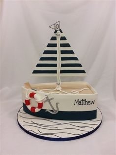 cake lady cakes for any special occasion Nautical Birthday Cakes, Nautical Cake, Nautical Theme, Ocean Cakes, Beach Cakes, Fondant Cakes, Cupcake Cakes, Boat Cake, Jungle Cake