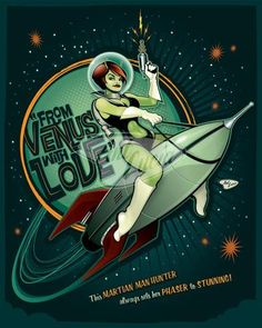 From Venus with Love by Ant Lucia Man Hunter, Space Girl, Vintage Space, Science Fiction Art, Illustrations, Retro Illustration, Pulp Art, Sci Fi Fantasy, Pin Up Art
